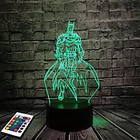 3D светильник с пультом и аккумулятором 3D Lamp Бетмен v.2 (LP-2880), фото 1