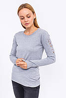 LUREX Джемпер с кружевом и блестящими мелкими заклепками на рукавах - серый цвет, M