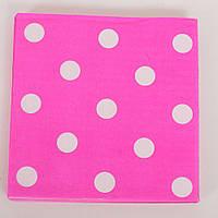 Аксессуары для праздника MET10146-8 (300шт) салфетки, розовый в горошек, 20 шт в  кульке,17,5-23-1,5см
