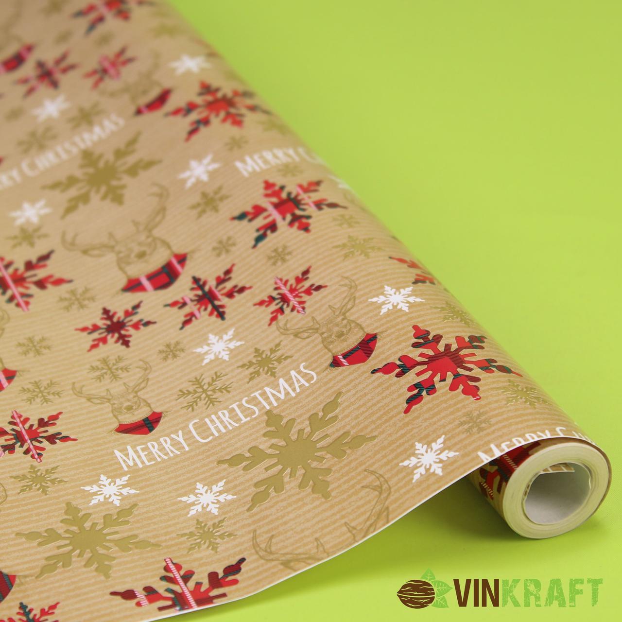Папір подарунковий  (рулон 70*100 см) Новорічний