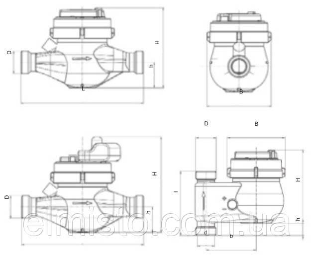 Габаритные размеры водосчетчика Sensus 420