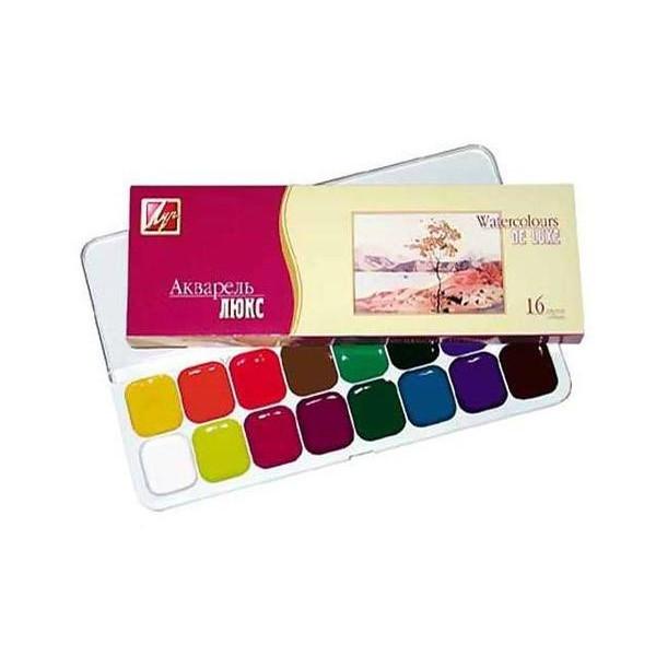 Краски акварель медовые Луч Люкс 14С1019-08, 16 цветов, б/кист.