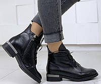 Vzuta! Осенние черные кожаные женские полу ботинки на шнуровке со змейкой квадратный каблук