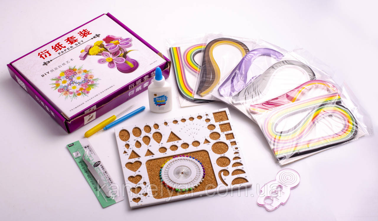 Набор для квиллинга (бумага, клей, пинцет, инструмент, трафарет 2 вида, булавки)