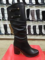 Полусапожки женские кожаные зимние на не большем каблуке с широким голенищем, фото 1