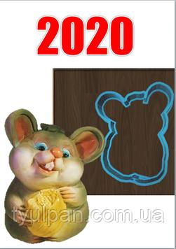 Вырубка Форма для пряника мышка с сыром  разм 10 см