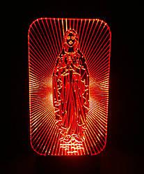 3d-светильник Дева Мария, 3д-ночник, несколько подсветок (на пульте)