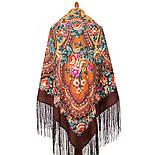 Фініфть 341-16, павлопосадский хустку (шаль) з ущільненої вовни з шовковою бахромою в'язаної, фото 2