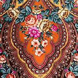 Фініфть 341-16, павлопосадский хустку (шаль) з ущільненої вовни з шовковою бахромою в'язаної, фото 8