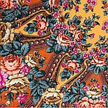 Фініфть 341-16, павлопосадский хустку (шаль) з ущільненої вовни з шовковою бахромою в'язаної, фото 9