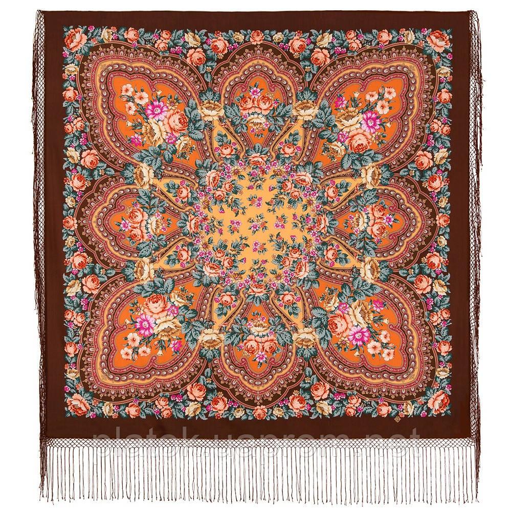 Фініфть 341-16, павлопосадский хустку (шаль) з ущільненої вовни з шовковою бахромою в'язаної