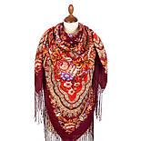 Финифть 341-6, павлопосадский платок (шаль) из уплотненной шерсти с шелковой вязанной бахромой, фото 2