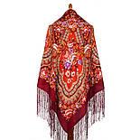 Финифть 341-6, павлопосадский платок (шаль) из уплотненной шерсти с шелковой вязанной бахромой, фото 5