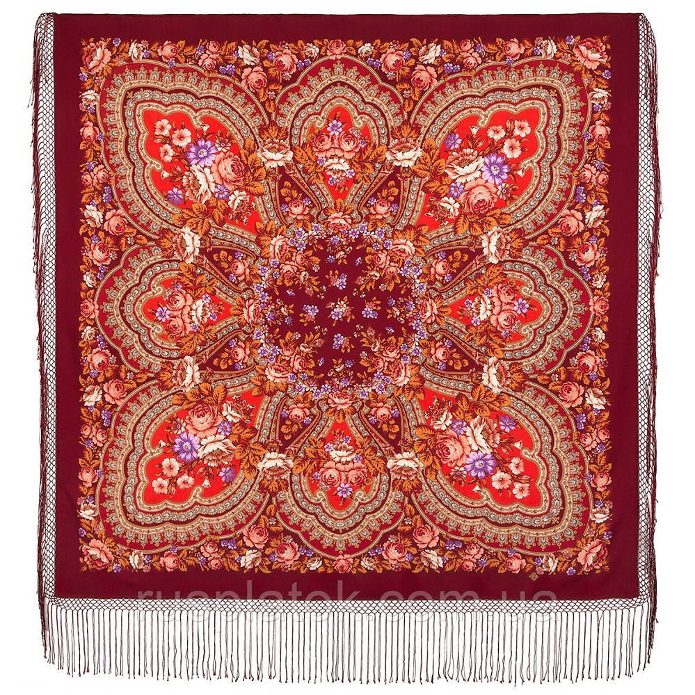 Финифть 341-6, павлопосадский платок (шаль) из уплотненной шерсти с шелковой вязанной бахромой