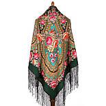 Финифть 341-29, павлопосадский платок (шаль) из уплотненной шерсти с шелковой вязанной бахромой, фото 9