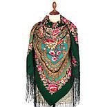 Финифть 341-29, павлопосадский платок (шаль) из уплотненной шерсти с шелковой вязанной бахромой, фото 2