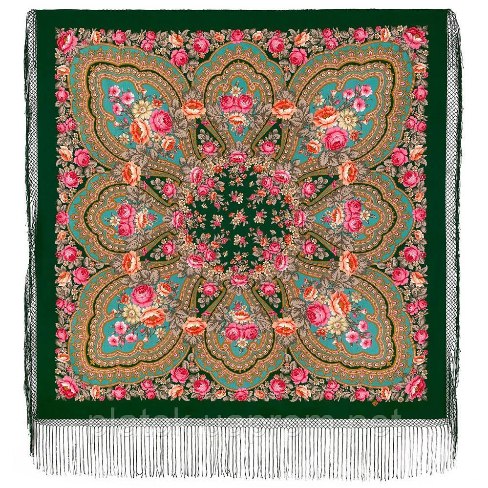 Финифть 341-29, павлопосадский платок (шаль) из уплотненной шерсти с шелковой вязанной бахромой