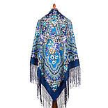 Финифть 341-14, павлопосадский платок (шаль) из уплотненной шерсти с шелковой вязанной бахромой, фото 5