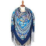 Финифть 341-14, павлопосадский платок (шаль) из уплотненной шерсти с шелковой вязанной бахромой, фото 2