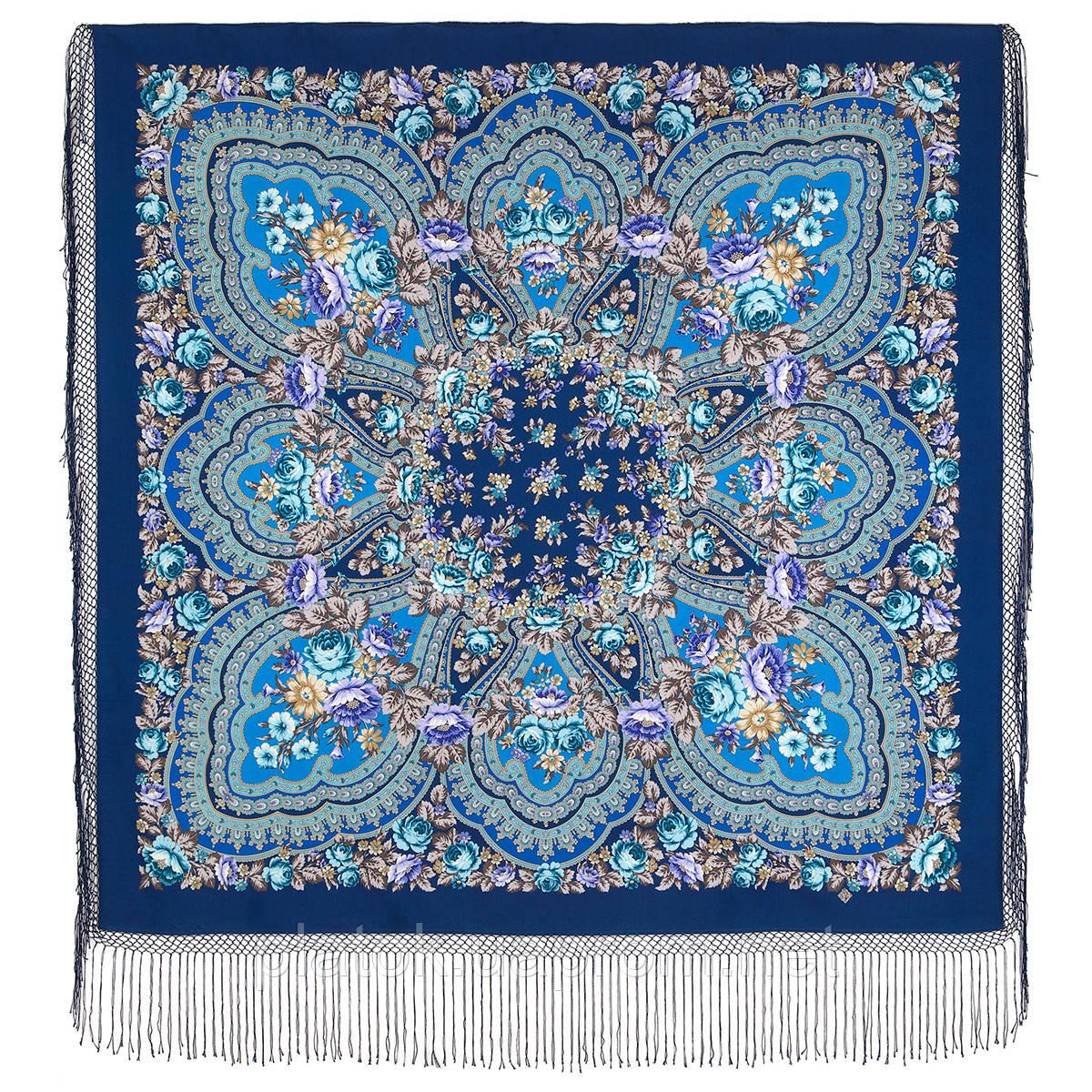 Финифть 341-14, павлопосадский платок (шаль) из уплотненной шерсти с шелковой вязанной бахромой