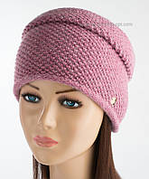 Фактурная женская шапка Инесса с люрексом коралл