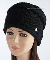 Зимняя вязаная шапка Инесса с люрексом черная