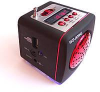 Портативная колонка-радио WS-909RL MP3/SD/USB/AUX/FM/LED фонарь, red, фото 1