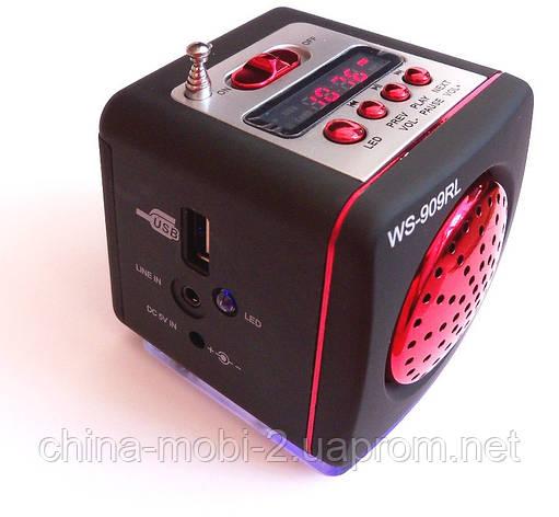 Портативная колонка-радио WS-909RL MP3 SD USB AUX FM LED фонарь, red, фото 2