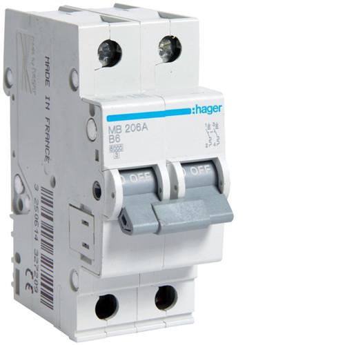 Автоматический выключатель Hager 2P 6kA B-6A 2M (MB206A)