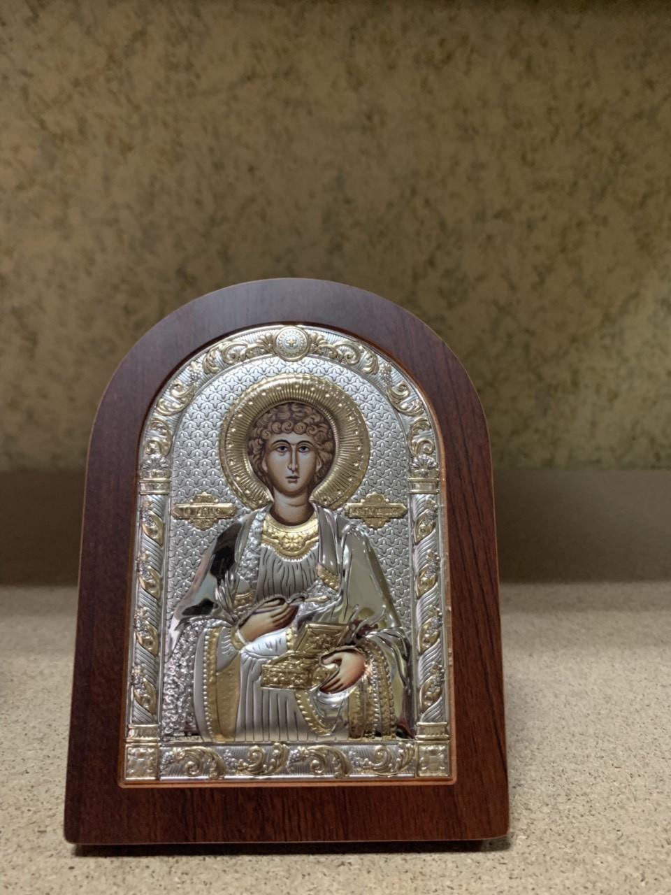 Икона Святой Пантелеймон AGIO SILVER (Греция) Серебряная с позолотой 57 х 75 мм