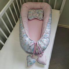 Детский кокон позиционер с подушечкой для новорожденных розовый единорог