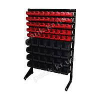 Стелаж 1500мм 69 ящика, з пластиковими ящиками односторонній