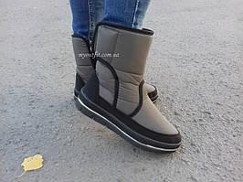 Жіночі зимові чоботи дутики Оливкові короткі на замку