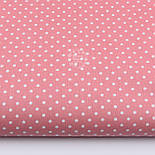 Лоскут ткани с горошком 4 мм на коралловом фоне №1961, размер 37*80 см, фото 2