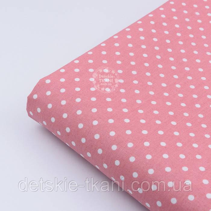 Лоскут ткани с горошком 4 мм на коралловом фоне №1961, размер 37*80 см
