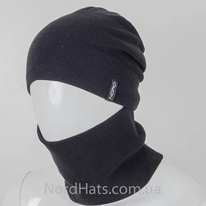 Комплект ангоровый, шапка+бафф, (Черный)