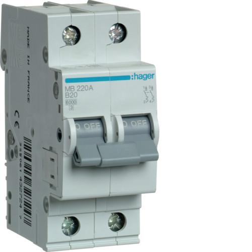 Автоматический выключатель Hager 2P 6kA B-20A 2M (MB220A)