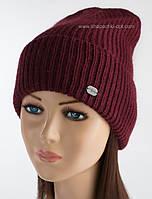 Молодежная шапка с отворотом Эшли люрекс бордо