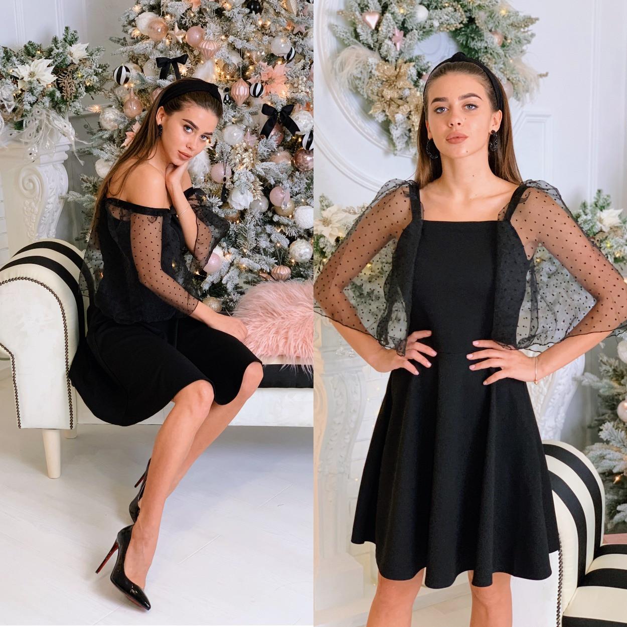 Нарядное черное платье  с пышными рукавами из органзы
