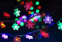 Гирлянда светодиодная Снежинки 1длина 4,5 метров, 28 ламп., цветная, фото 1