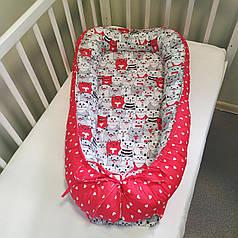 Детский кокон позиционер для новорожденных красный