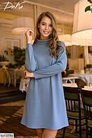 Платье под шею с длинным рукавом р-ры 42-48 арт 15217