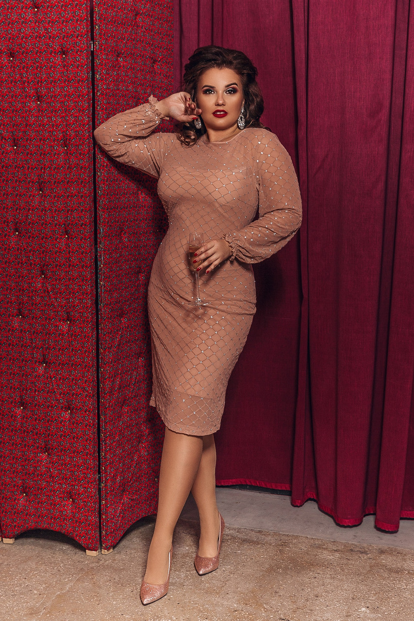 Женское нарядное платье большого размера.Размеры:48-58.