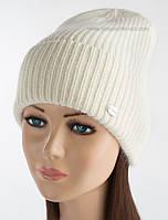 Вязаная женская шапка с отворотом Эшли люрекс белая