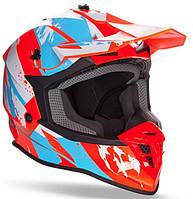 Шлем Geon 633 MX Fox Кросс Blue Neon Orange