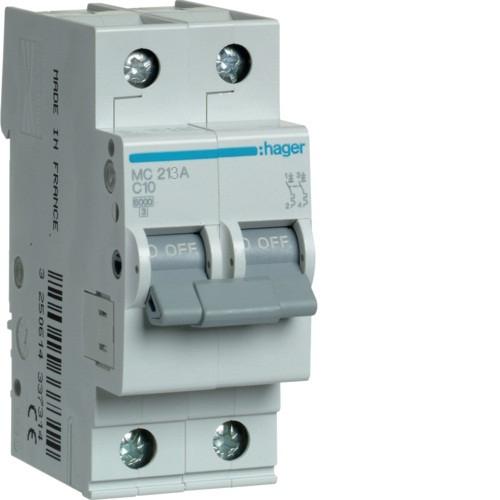 Автоматический выключатель Hager 2P 6kA C-13A 2M (MC213A)