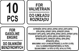 Набір для систем газорозподілу бензинового двигуна PSA/MINI 10 ел. YATO YT-06001, фото 3