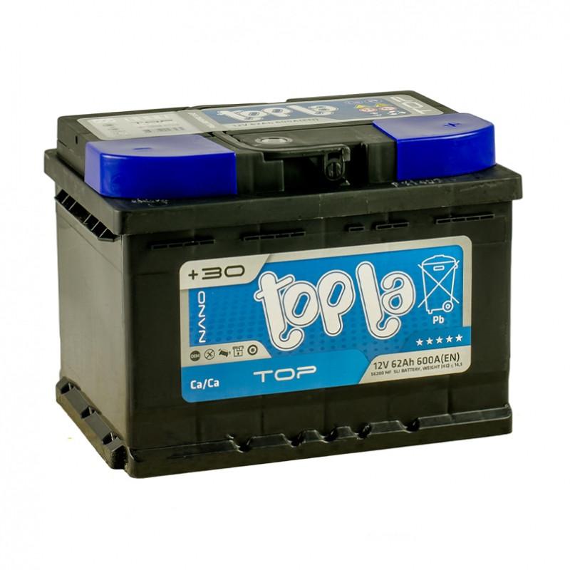 Аккумулятор автомобильный 6СТ-62Ач. 600A. TOPLA TOP