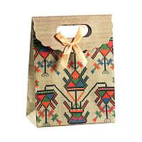 Сумочка подарочная Gift Bag Velcro Бумага Рушнык Украинская Вышивка 16,5х12,5х6 см (13641)