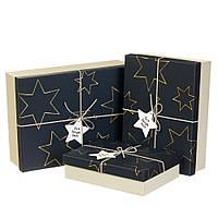 """Большие новогодние подарочные коробки """"Звёздные мечты"""" набор 3 шт. (можно поштучно)"""